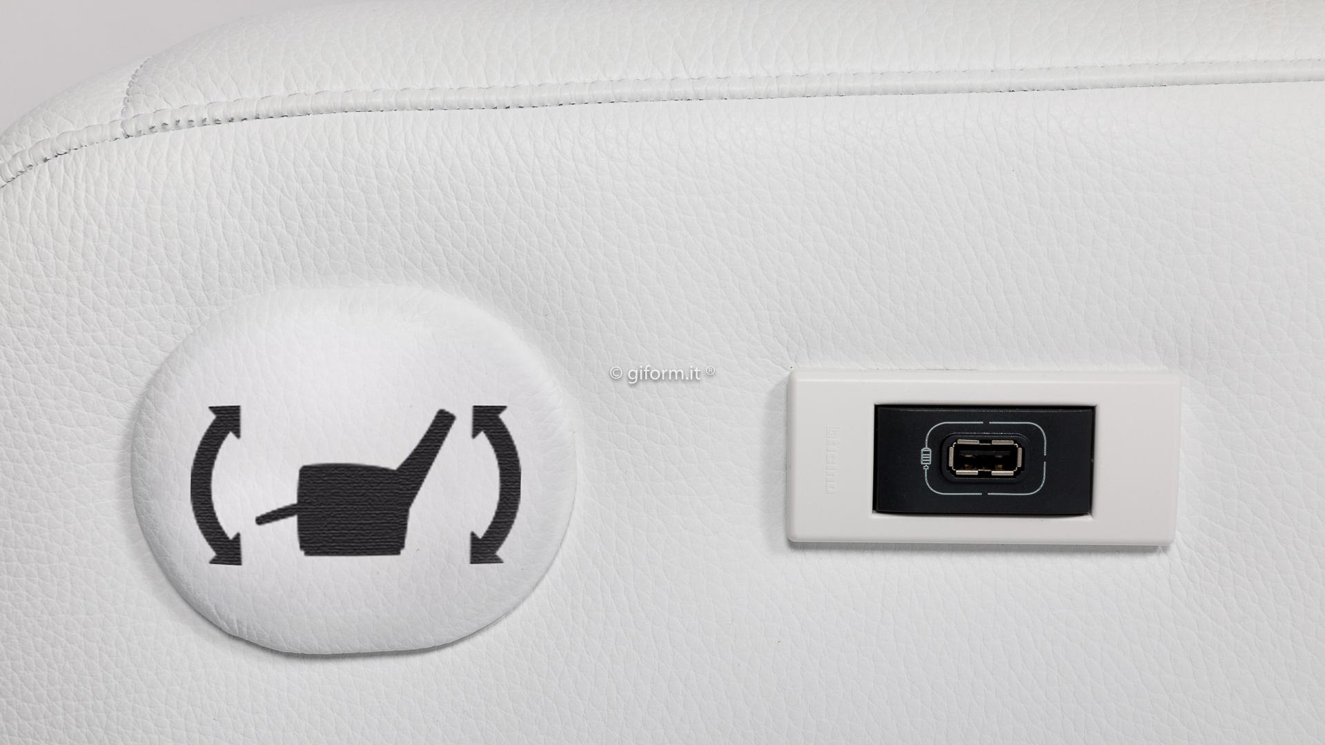 GIFORM - Make Up: dettaglio pulsantiera e presa USB
